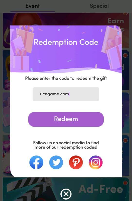 Redemption code for chapters